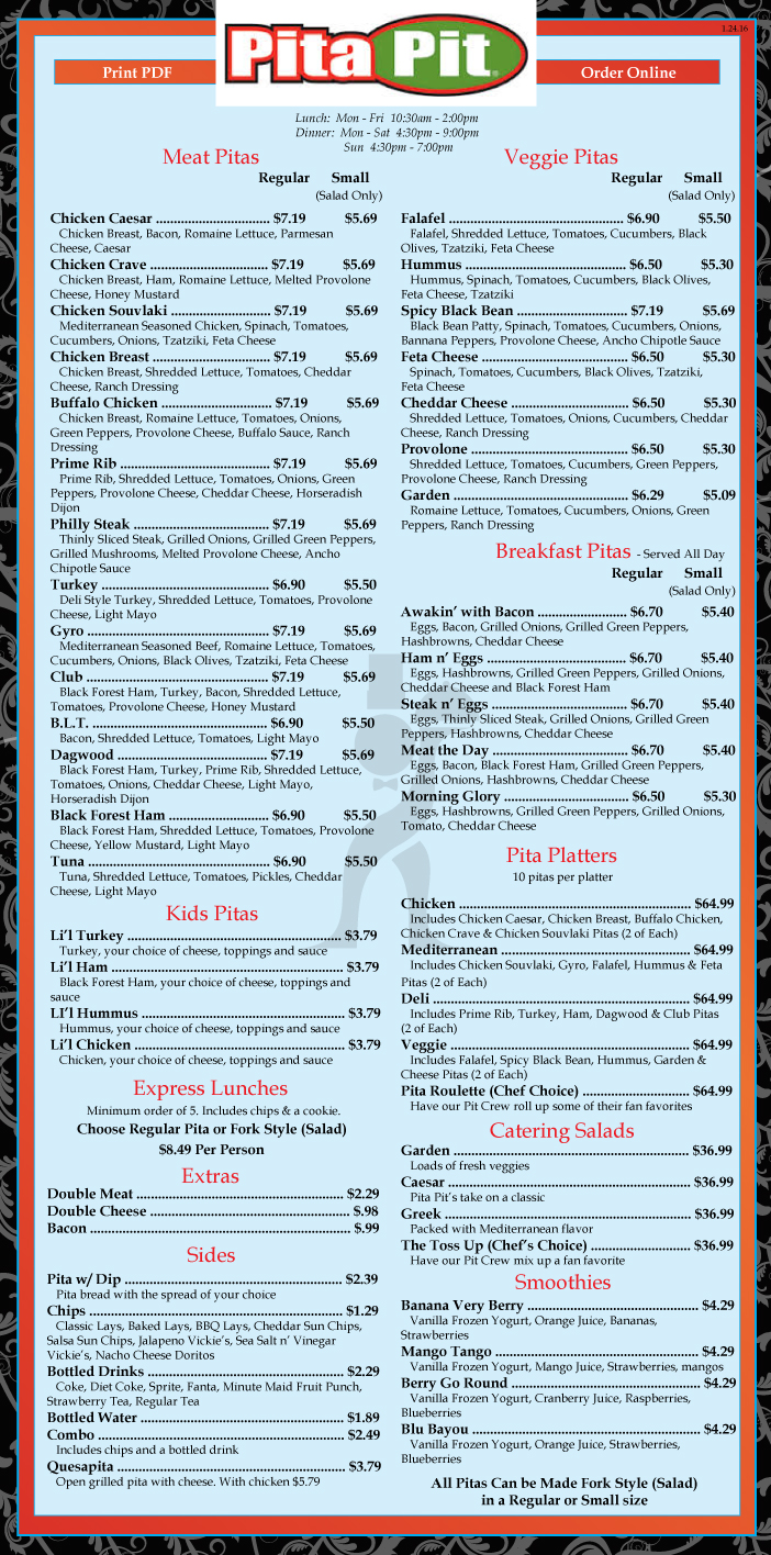 picture regarding Pita Pit Printable Menu titled Vitamins pita pit / Buffets inside mesa arizona